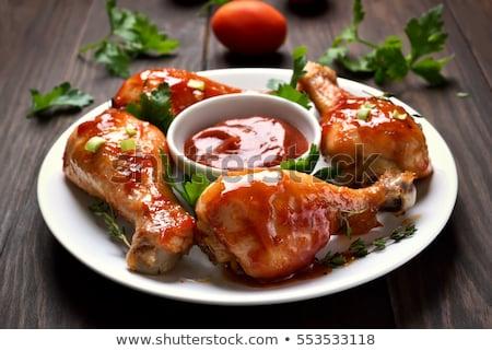 Tavuk pişmiş baharatlı sos akşam yemeği Stok fotoğraf © M-studio