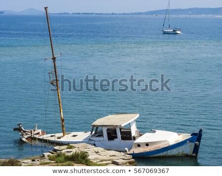 Sunk ruined boat at Lefkada island Stock photo © ankarb