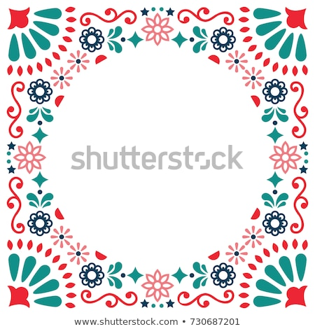 Mexican folk vector greeting card, wedding or party invitation decoration, floral abstract border Stock photo © RedKoala
