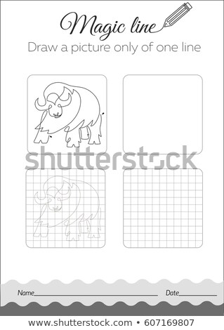 Draw a picture only of one line buffalo Stock photo © Olena