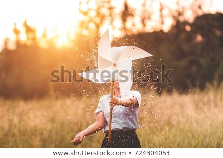 Mulher criança brinquedo moinho de vento família Foto stock © IS2