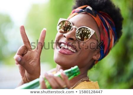 Jovem hippie mulher feliz Foto stock © RAStudio