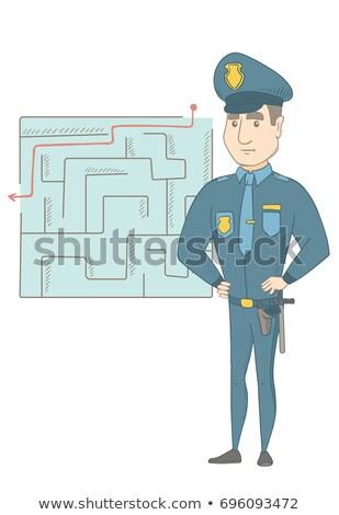 Policjant patrząc labirynt rozwiązanie myślenia Zdjęcia stock © RAStudio