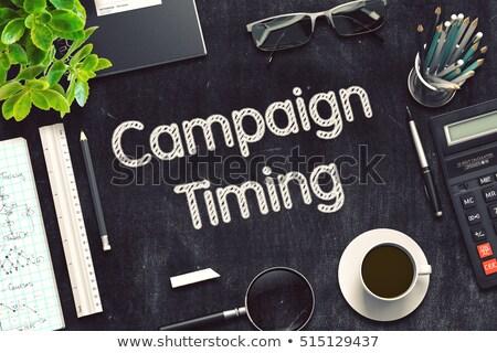 Hirdetés kampány kézzel írott fekete tábla 3D Stock fotó © tashatuvango