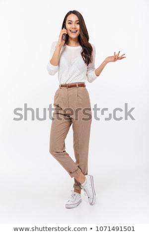 portret · glimlachend · asian · meisje · praten · mobiele · telefoon - stockfoto © deandrobot