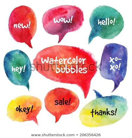Stok fotoğraf: Aqua Speech Bubble Set