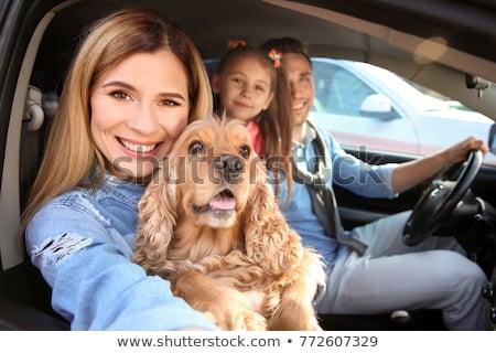 kilátás · fiatal · nő · ül · új · autó · tart · kulcs - stock fotó © is2