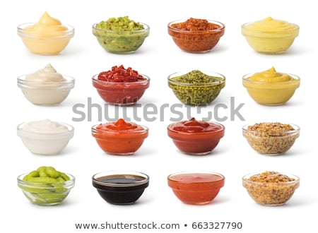 kom · mayonaise · klein · lepel · servet - stockfoto © m-studio