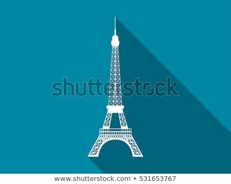 fekete · sziluett · Eiffel-torony · fehér · Európa · vektor - stock fotó © 5xinc