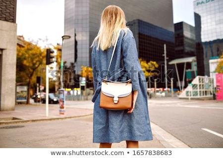 Mulher loira senhoras bolsa negócio terno corporativo Foto stock © studioworkstock