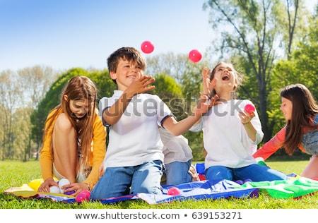 Jongleren illustratie gelukkig kind Stockfoto © bluering
