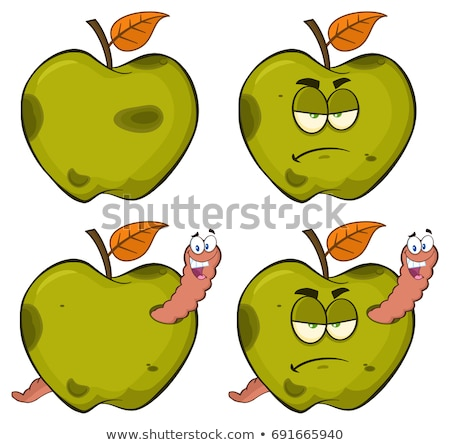 Happy Worm In A Grumpy Rotten Green Apple Fruit Cartoon Mascot Characters Stock photo © hittoon