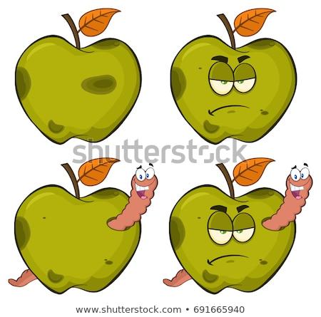 divertente · verde · mela · frutta · isolato - foto d'archivio © hittoon