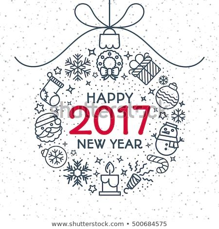 zestaw · szczęśliwego · nowego · roku · wesoły · christmas · elementy · ikona - zdjęcia stock © foxysgraphic