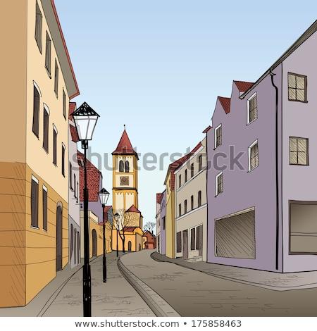 Gyalogos utca öreg európai város kényelmes Stock fotó © Terriana
