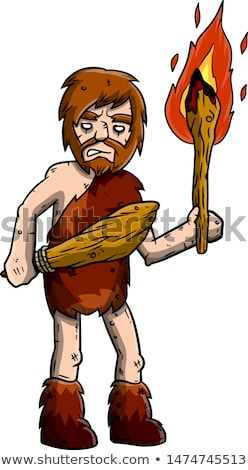Happy Caveman Cartoon Character Running With A Torch Stock photo © hittoon