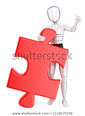 3D Humanoid robot with a huge puzzle piece. Solution Stock photo © texelart