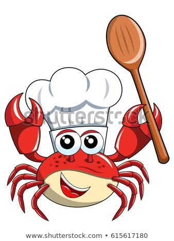 Crab Chef Cartoon Mascot Character Holding A Spoon Stock photo © hittoon