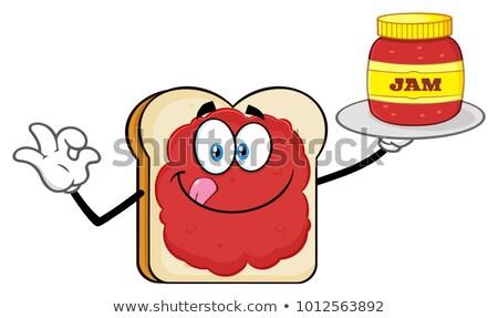 plakje · brood · mascotte · cartoon · geïsoleerd · witte - stockfoto © hittoon