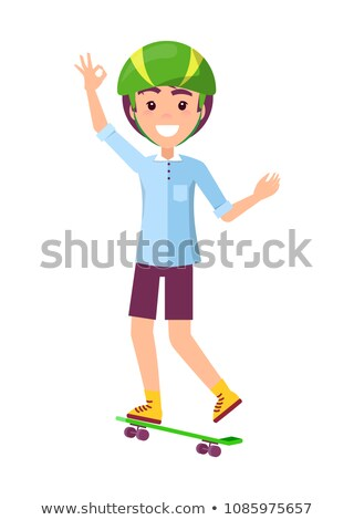 skater and hand gesture ok vector illustration stock photo © robuart