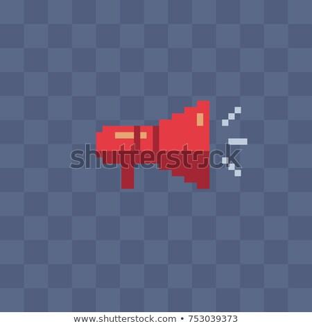 Megafon pixel művészet hangszóró bit tűz Stock fotó © popaukropa