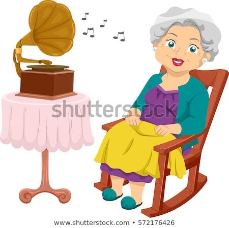 Kıdemli kız gramofon örnek Stok fotoğraf © lenm