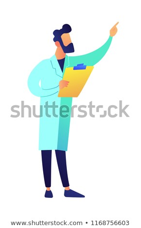Scientist with clipboard showing with finger vector illustration. Stock photo © RAStudio