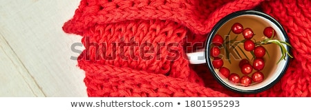Mug of hot viburnum tea with red warm knitted scarf Stock photo © Illia