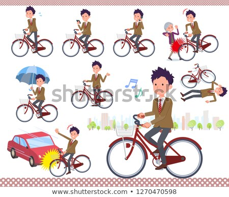 男子生徒 ブラウン ブレザー 市 自転車 セット ストックフォト © toyotoyo