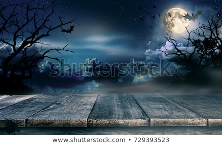 halloween card with moon and black silhouettes of tree stock photo © artspace
