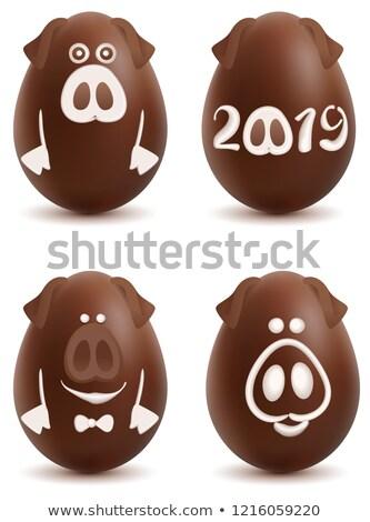 Chocolate cerdo símbolo año establecer Navidad Foto stock © orensila