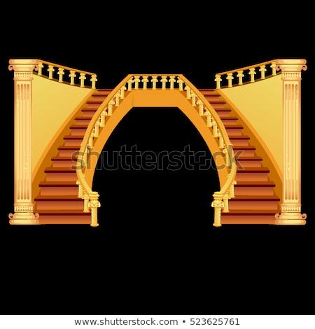 vintage · escada · isolado · preto · casa · edifício - foto stock © Lady-Luck