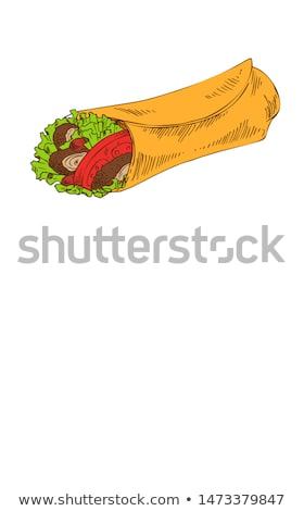 Mexican Spicy Fast Food Burrito Wrap Promo Poster Stock photo © robuart
