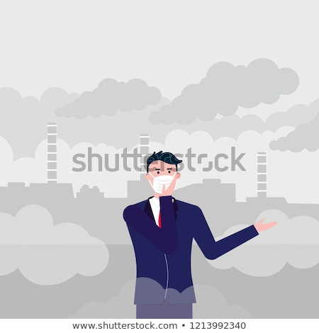 Air pollution - cartoon people characters vector illustration Stock photo © Decorwithme