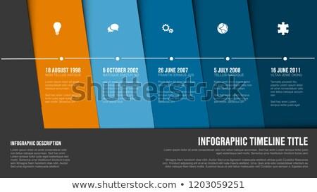 タイムライン テンプレート 青 対角線 ブロック ベクトル ストックフォト © orson