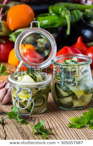 Canned Pickled Vegetables and Zucchini, Glass Jars Stock photo © robuart