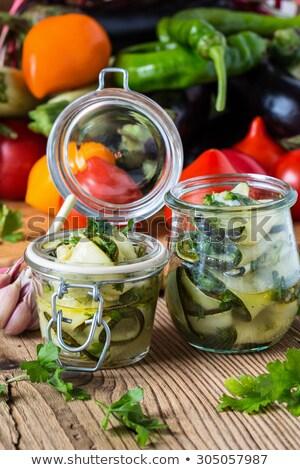 Dobozos zöldségek cukkini üveg zöldség keverék Stock fotó © robuart