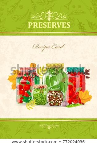 Megőrzött étel bannerek gyümölcs zöldség fűszeres Stock fotó © robuart