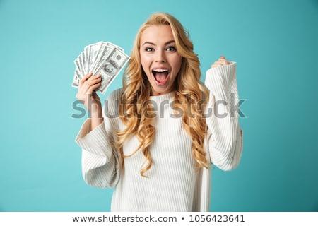 Vonzó nő pénz portré vonzó boldog nő Stock fotó © Traimak