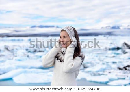 Ativo inverno férias Islândia feliz bela mulher Foto stock © Anna_Om