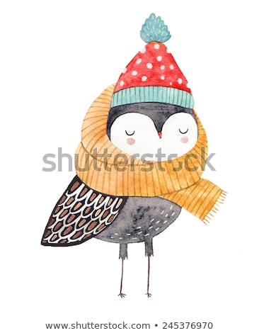 Cartoon watercolor hand drawn doodles Winter background. Stock photo © balabolka