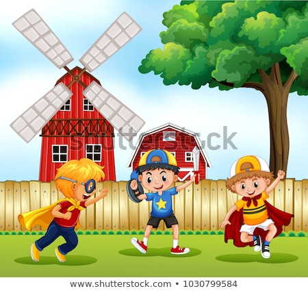 Three boys playing hero in the park Stock photo © colematt