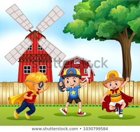 Trzy chłopców gry bohater parku ilustracja Zdjęcia stock © colematt