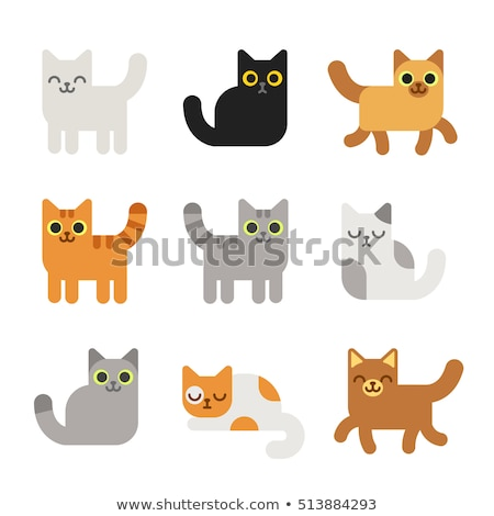 Cute little kitten sleeping and sitting flat icons stock photo © IvanDubovik