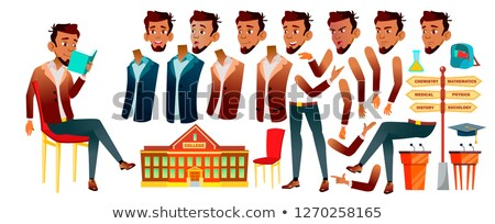 Arab, Muslim Teen Boy Vector. Animation Creation Set. Face Emotions, Gestures. Pretty, Youth. Animat Stock photo © pikepicture