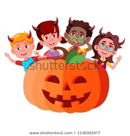 group of children with devil horns peeking out from large pumpkin vector halloween isolated illustr stock photo © pikepicture