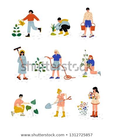 Gazdálkodás emberek gereblye szett emberek dolgoznak föld Stock fotó © robuart