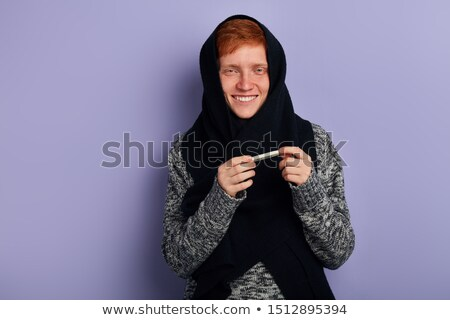 Close up portrait of a sad sick man dressed in sweater Stock photo © deandrobot