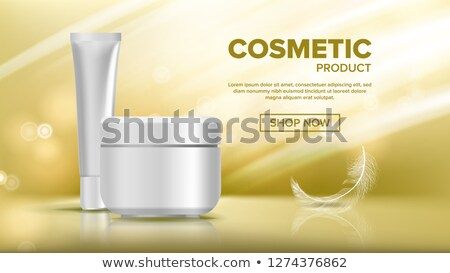 Cosmetic Bottle Advertising Vector. Shiny Object. Elegant Woman. Female Hygiene. Exhibition Brochure Stock photo © pikepicture