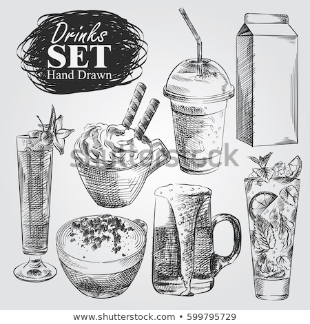 Background with different cocktails. Sketch of coffee cocktail.  Stock photo © Arkadivna
